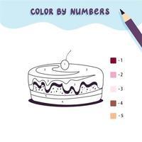 cor bolo doce bonito por número. jogo educacional de matemática para crianças. página para colorir. vetor