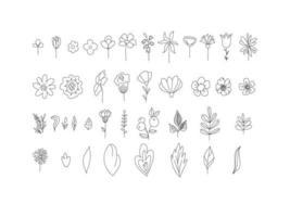 conjunto floral de flores preto e brancas e folhas isoladas no fundo branco. esboço estilo desenhado à mão. coleção floral monocromática vetor