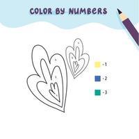 folhas bonitas de cor por número. jogo educacional de matemática para crianças. página para colorir. vetor