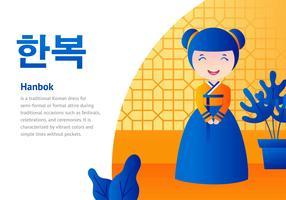 Senhora em desenhos animados hanbok vetor