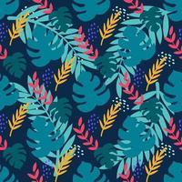 plantas tropicais em um fundo azul escuro. folhas de monstera, palmeiras. padrão sem emenda de vetor em estilo simples