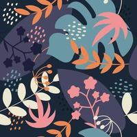 plantas, galhos, flores e monstera. padrão sem emenda de vetor em um estilo simples em um fundo azul escuro