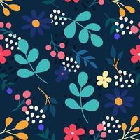 flores e plantas em um fundo azul escuro. padrão sem emenda de vetor em um estilo simples