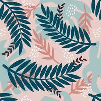 ramos de palmeira, plantas tropicais, monstera. padrão sem emenda de vetor em estilo simples