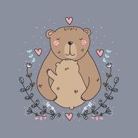 Urso Mãe E Bebê Vector