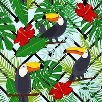 tucano, pássaros exóticos, folhas de palmeiras tropicais, selva e flores. fundo do teste padrão floral vetor sem emenda bonito. padrão sem emenda de vetor para design de tecido elegante, papel, web.
