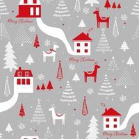 padrão engraçado sem costura vetor com veados, casas, flocos de neve e árvore de Natal. pode ser usado para tecido, capa de telefone e papel de embrulho.