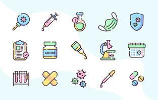 conjunto de ícone de vacina de vírus corona vetor