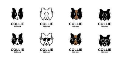 design de logotipo simples de cachorro collie vetor