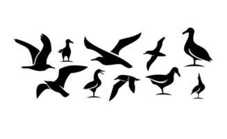definir coleção de gaivota ilustração de design de ícone de vetor preto