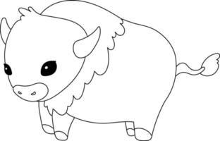 Buffalo kids página para colorir excelente para livro de colorir iniciante vetor