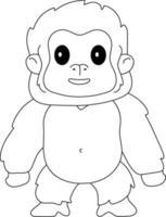 Gorila kids coloração ótima para iniciante livro de colorir vetor