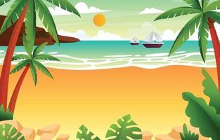 fundo de cenário de praia de verão vetor