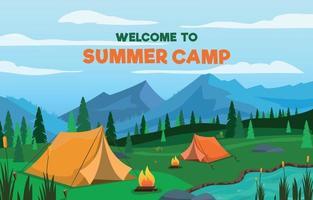 fundo de acampamento de verão vetor
