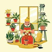 mulher plantando flores em casa conceito vetor