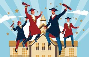 conceito de celebração de cerimônia de formatura vetor