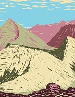pico da divisão tripla localizado na cordilheira de lewis, parte das montanhas rochosas e uma característica do parque nacional glaciar em montana eua arte de pôster wpa vetor