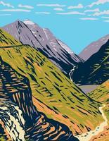 estrada indo para o sol vista de logan passa por uma estrada de montanha pitoresca nas montanhas rochosas localizadas no glacier national park em montana wpa poster art vetor