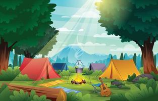 acampamento de verão no fundo da paisagem da floresta vetor