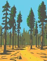 sequóias gigantes que crescem na trilha geral de concessão e na seção de bosque do parque nacional de maior kings canyon, localizado na arte de pôster wpa da califórnia vetor