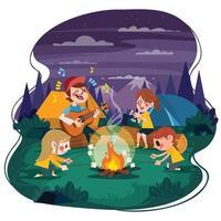 grupo de amigos curtindo fogueira em acampamento de verão à noite vetor