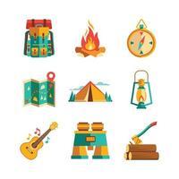 coleção de ícones do acampamento de verão vetor