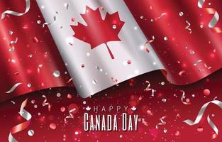 conceito de feliz dia do Canadá com bandeira e confetes vetor