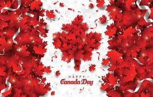 conceito de feliz dia do Canadá com folhas de bordo vermelhas abstratas vetor