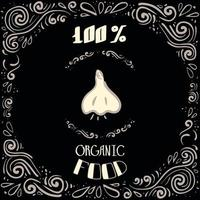 esta é uma ilustração do doodle de alho com padrões vintage e inscrições de alimentos 100% orgânicos vetor