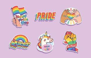 coleção de adesivos de orgulho LGBTQ vetor