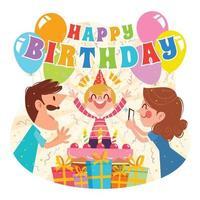 conceito de desenho animado de celebração de aniversário com família vetor