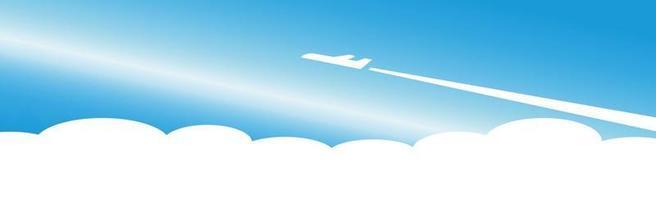 silhueta de um avião decolando em um fundo de azul n - vetor