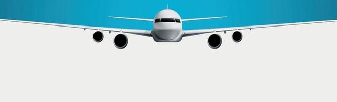modelo realista de uma aeronave civil em um fundo branco e azul - vetor