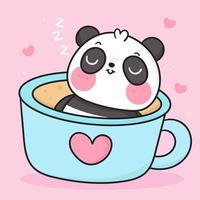 urso panda fofo na xícara bebendo café chá desenho animado teddy doce sonho animal zoológico kawaii doodle feminino vetor
