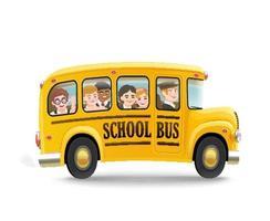 desenho animado ônibus escolar com crianças vetor
