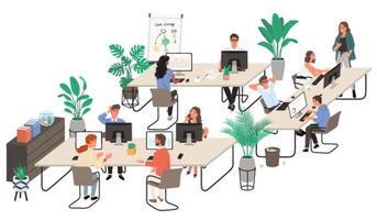 grupo de trabalhadores de escritório no local de trabalho e comunicando-se uns com os outros vetor