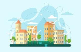 conceito de cidade de tecnologia verde vetor