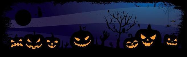 assustador fundo azul escuro de Halloween - vetor