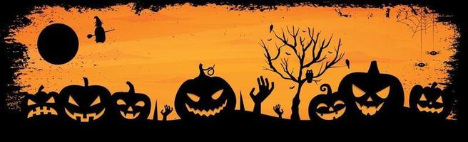 assustador fundo laranja sombrio de halloween - vetor