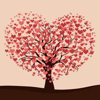 árvore realista florescendo com corações vermelhos - vetor