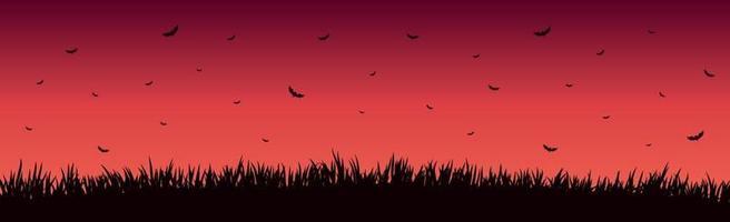 muitos morcegos em um pôr do sol vermelho brilhante vetor