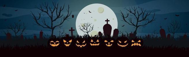 assustador cemitério abandonado noite sombria no fundo do castelo vetor