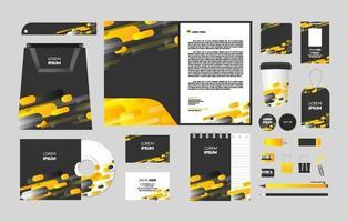 kit estacionário abstrato amarelo empresarial vetor