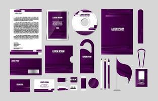 kit de papelaria empresarial roxo abstrato vetor