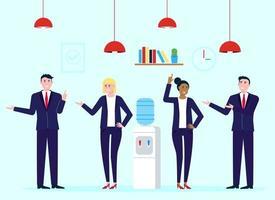 trabalho em equipe de colegas perto do bebedouro homens e mulheres felizes conversando e trabalhando personagens vetoriais estilo simples conversa de ilustração vetorial no local de trabalho no conceito de escritório nos negócios vetor