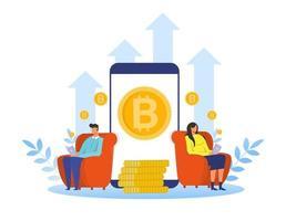 mulher e homem comprando bitcoin para obter um aumento no retorno de investimento em criptomoeda todos os anos ilustrador vetorial vetor