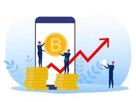 homem de negócios de terno segurando conceito de crescimento da taxa de bitcoin. Ilustração em vetor em estilo simples