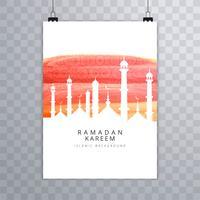 Cartão bonito design de brochura Ramadan Kareem vetor