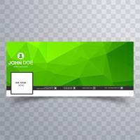 Bandeira de timeline do facebook moderna geométrica polígono verde vetor