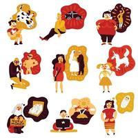 ilustração vetorial conjunto de ícones de sonhos humanos vetor